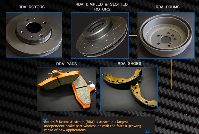 RDA Dimpled Slotted Rotors Drums Pads Shoes